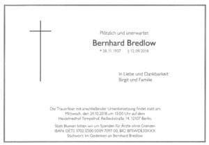 Traueranzeige Bernhard Bredlow